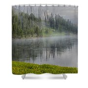 Lifting Fog On The Yellowstone River Shower Curtain