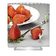 Lifting Strawberry By A Fork Lever Food Physics Shower Curtain