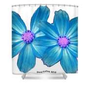 Light Blue Asters Shower Curtain