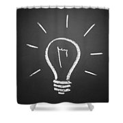Light Bulb On A Chalkboard Shower Curtain