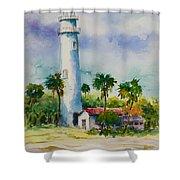 Light House At The Beach Shower Curtain
