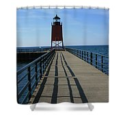 Light House In Charlevoix Mich Shower Curtain