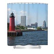 Light House Milwaukee Skyline 1 Shower Curtain