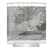 Light House On San Juan Island Lime Point Lighthouse Shower Curtain