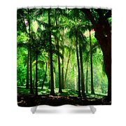 Light In The Jungles. Viridian Greens. Mauritius Shower Curtain