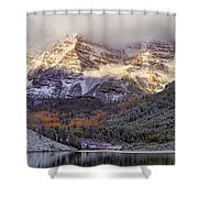 Light On Maroon Bells Shower Curtain