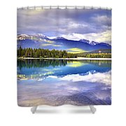 Light Play At Lake Annette Shower Curtain