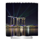 Light Show At Marina Bay Sands Hotel And Casino II Shower Curtain