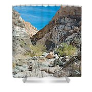 Light Side And Dark Side In Big Painted Canyon In Mecca Hills-ca Shower Curtain