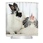 Light Sussex Bantam Hen And Rabbit Shower Curtain