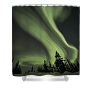 Light Swirls Over The Midnight Dome Shower Curtain by Priska Wettstein