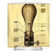Lightbulb Patent Shower Curtain by Digital Reproductions
