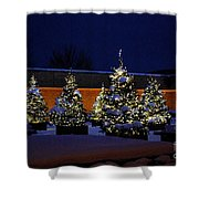 Lighted Trees With Snow Shower Curtain