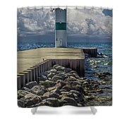 Lighthead At The End Of The Pier In Pentwater Michigan Shower Curtain