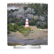Lighthouse Aerial Near Jekyll Island Shower Curtain