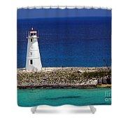 Lighthouse Along Coast Of Paradise Island Bahamas Shower Curtain