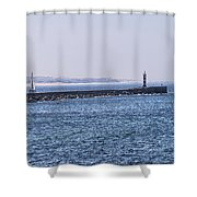 Lighthouse And A Sailing Boat Shower Curtain