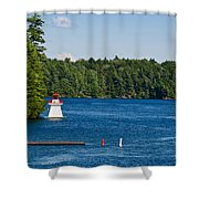 Lighthouse And Boathouse Shower Curtain