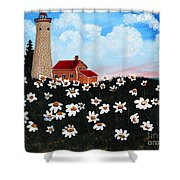 Lighthouse And Daisies Shower Curtain
