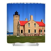 Lighthouse And Mackinac Bridge Shower Curtain