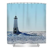 Lighthouse And Winter Shower Curtain