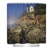 Lighthouse At Bass Harbor Maine Shower Curtain
