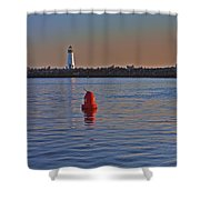 Lighthouse At Harbor Shower Curtain