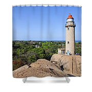 Lighthouse At Mamallapuram Shower Curtain