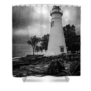 Lighthouse At Marblehead Shower Curtain