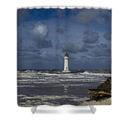 lighthouse at New Brighton Shower Curtain