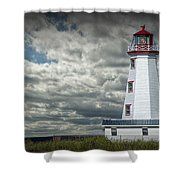 Lighthouse At North Cape On Prince Edward Island Shower Curtain