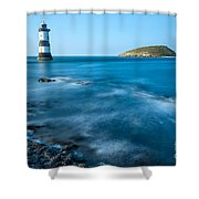 Lighthouse At Penmon Point Shower Curtain