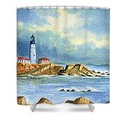 Lighthouse At Portland Head Maine Shower Curtain