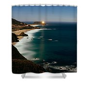Lighthouse At The Coast, Moonlight Shower Curtain