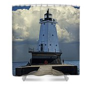 Lighthouse At The End Of The Pier In Ludington Michigan Shower Curtain