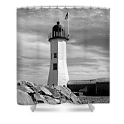 Lighthouse Black And White Shower Curtain