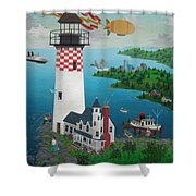 Lighthouse Fishing Shower Curtain