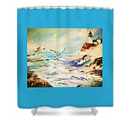 Lighthouse Gulls And Waves Shower Curtain