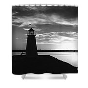 Lighthouse In Black And White Shower Curtain