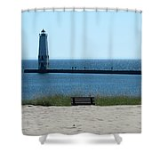 Lighthouse In Blue Shower Curtain
