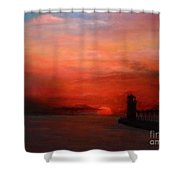 South Haven Mi Lighthouse In Four Seasons Summer Shower Curtain