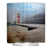 South Haven Mi Lighthouse In Four Seasons-winter Shower Curtain