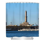 Lighthouse In Genova. Italy Shower Curtain