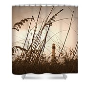 Lighthouse In The Distance Inn Sepia Shower Curtain by Laurie Perry