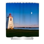 Lighthouse In The Light From Moon And Sun Shower Curtain