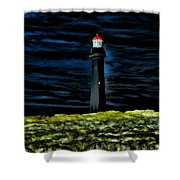 Lighthouse In The Night Shower Curtain
