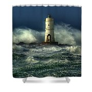 Lighthouse In The Storm Shower Curtain