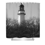 Lighthouse In Trees Shower Curtain