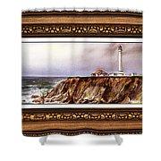 Lighthouse In Vintage Frame Shower Curtain