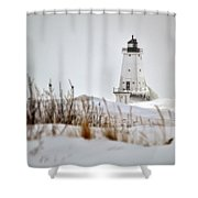Lighthouse In Winter Shower Curtain